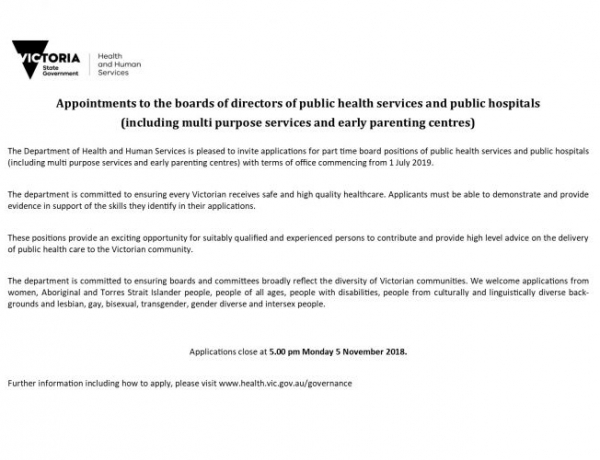 Department of Health And Human Services Invitation for applications part time board positions