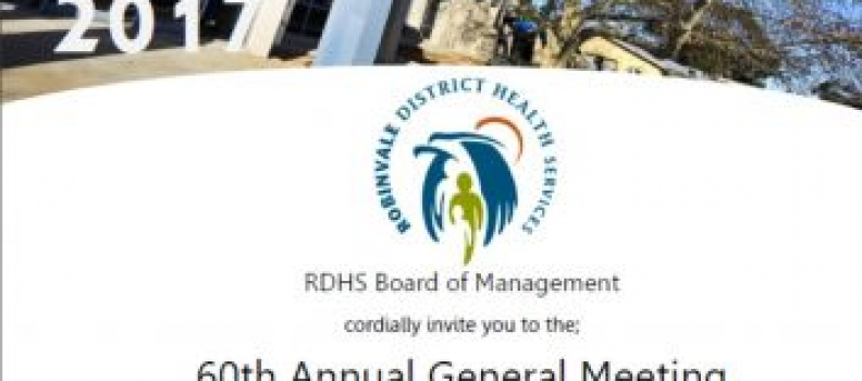 RDHS 60th Annual General Meeting to be held on Monday 23rd October 2017