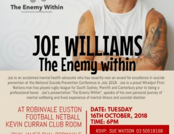 Free Wellbeing Education Opportunity with Joe Williams