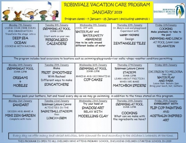 RDHS EARLY YEARS 2019 VACATION PROGRAM